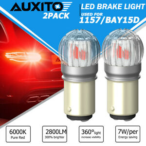 2x Pure Red BAY15D 1157 30-SMD LED Light Bulbs Turn Signal Tail Brake Stop Lamp
