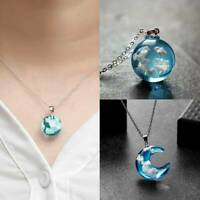 Transparent Resin Rould Ball Pendant Blue Sky White Cloud Chain Necklace Jewelry