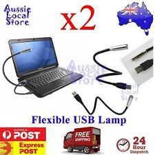 2 x USB LED Reading Light Lamp Flexible for Laptop Computer Notebook Car Macbook