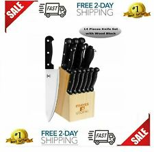 Knife Block Set Kitchen Sharpening Stainless Steel Chef Steak Wood Cutlery 14 Pc