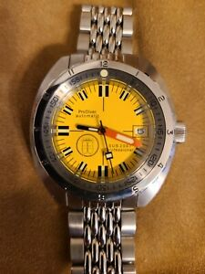 Marinez Samui Yellow 42mm 300m Automatic Diver Watch Doxa Homage & Silver dial!