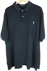 Polo Ralph Lauren Mens 2XLT Tall Black Soft Cotton Short Sleeve Shirt White Pony