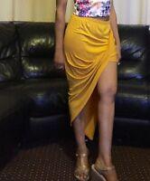 Sexy Womens Ruched Long Maxi Dress Ladies Side Split Slit Drape Maxi Midi Skirts