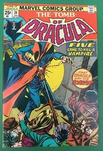 1975 Marvel The TOMB Of DRACULA Comic #28 with BLADE Appearance (Fine+)