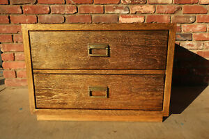 Drexel Woodbriar 2 Drawer Chest. Refinished Pecanwood, Espresso and Gold Ceruse