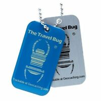 Geocaching QR Travel Bug® - Glow in the Dark blau Geocaching Trackable Geocoin