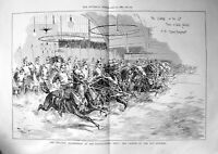 Old Print Military Tournament Agricultural Hall Charge 12Th Lancers 1889