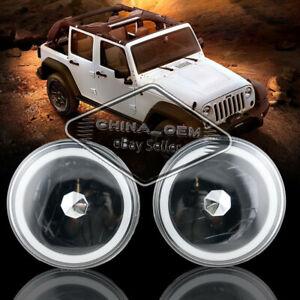 "7"" Headlamp Round Glass Lens LED Headlight Lamps Halo White Angel Eyes Light 2pc"