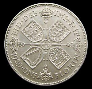 GEORGE V 1929 SILVER FLORIN - EF
