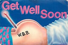 GET WELL SOON 1980 POSTCARD THERMOMETER IN REAR END ANUS