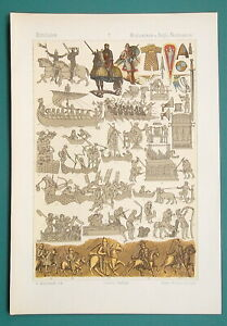 MILITARY COSTUME Normans Boats Soldiers Farming - 1883 Color Litho Print