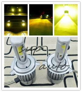 Yellow CREE H4 HB2 9003 55W 8000LM LED Headlight Kit Hi/Lo Power Bulb 3000K Sup