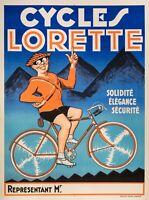 Affiche Originale - Cycles Lorette - Bicyclette - Vélo Cyclisme - Montagne 1925