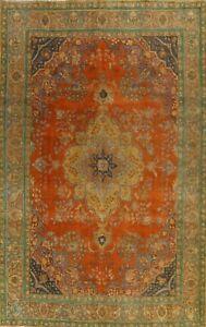 Vintage Floral Tebriz Hand-knotted Area Rug Overdyed Oriental Large Carpet 10x12