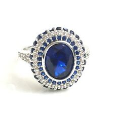 2.5Ct Blue Sapphire Diamond Halo Ring Solid 925 Silver Wedding Jewelry Size 6