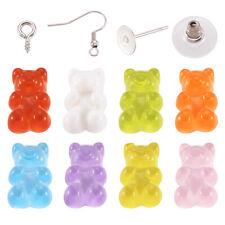 40Sets DIY Earring Making Set Jelly Bear Stud Earring Ear Wire w/ Ear Nut Women