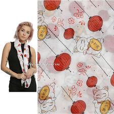 Lucky Cat & Orange Lanterns Maneki-Neko All Over Print Sheer Viscose Scarf NEW