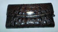 Brahmin Brown Croco Leather Fullsize Checkbook Wallet