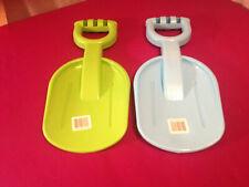 """Child's 2 Shovel Lot~New~Oversize Plastic~ 1 Green~ 1 Blue ~14½"""" Beach Sand Toys"""