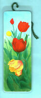 Bookmark Red Yellow Tulip Flower Lover Drawing Painting Print Art Hockin Gift