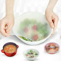 4PC Silicone Food Wrap Seal Cover Stretch Cling Film Reusable Kitchen Gadgets QA