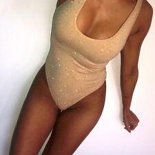 Women Sleeveless Bodysuit Leotard Tops Bling Crystal Romper Jumpsuit Playsuit