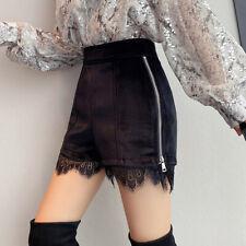 Women Shorts Velvet Velour Lace Patchwork Zip High Waist Pants Slim Black Autumn