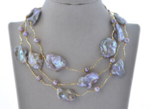 """Z10200 46"""" 28mm Lavender Baroque Coin KESHI Pearl Necklace"""