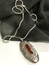 "Vintage Sterling Silver Large Carnila Locket 22gram 19"" Rope Chain"