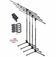 Microphone Boom Arm Stand 4 Pack Holder XLR Cable Mic Clip Stage Studio Griffin