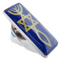 New Jewish Lapel Pin Grafted in Messianic israel Menorah Star of David Fish