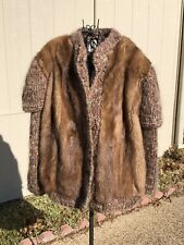 Vintage 1950s Custom Bifanos of Dallas Whiskey Mink and Wool Coat Large Unique