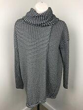 Cabi 3167 Fergie Sweater Small Black White Striped Cowl Turtleneck Split Drape