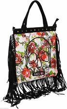 Iron Fist Woman Creepy Rose Canvas Tote Skull Black White Bag  IFLTOT11129S13