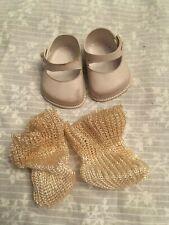 vinyl doll shoes and socks vintage. Cinderella size 01. white. Nylon socks.