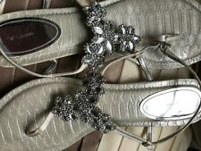 Women's Sandals, by Nina, SZ. 10 (M,B) Silver and Beige,, Leather soles