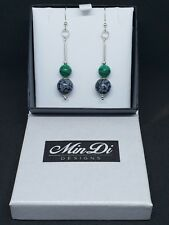 Handmade earrings made from Sterling Silver, Obsidian Snowflake & Malachite.