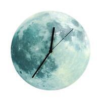 30cm Glowing Moon Wall Clock Waterproof PVC Acrylic Luminous Hanging Clock Decor