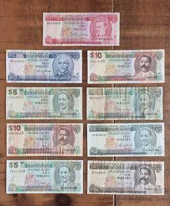 BARBADOS - Mixed lot of 9 old Banknotes