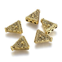 10PC Tibetan Alloy Triangle Metal Beads 1/3 Hole Carved Loose Spacer Gold 16.5mm