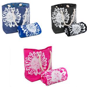 Beach Bag Womens PLUS Towel 2 PCE Set Swimming Pool Summer Tote Bags Floral