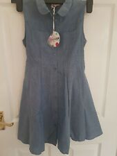 HULABALOO Girls Children Dress Front Buttons Cotton Blue Jeans Look 9-10 Years