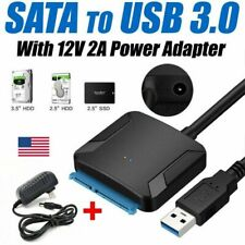 """UASP SATA TO USB 3.0 Converter Cable 2.5"""" 3.5"""" HDD SSD Adapter DC 12V US Power"""