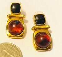 Joan Rivers Earrings Gold Tone Amber and Black Pierced