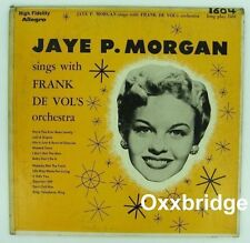 JAYE P MORGAN Sings With Frank DeVol's 1955 JAZZ SOUL LP Female ALLEGRO Vinyl