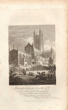 1814 GEORGIAN DATED PRINT ~ GLOUCESTER CATHEDRAL FROM NORTH EAST