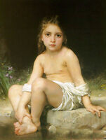 Art Oil painting William-Adolphe Bouguereau - Little girl Child at Bath by brook