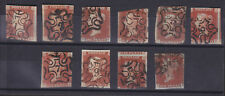 Great Britain Sc 3 used. 1841 1p red, 10 different Maltese Cross numeral cancels