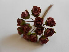 PK 10 WINE TEA ROSE FLOWERS FOR CARDS AND CRAFTS