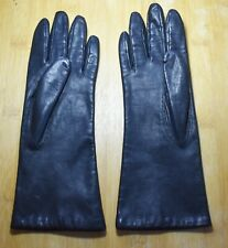 Vintage Fownes Lined Black Leather Ladies' Gloves | Size 7